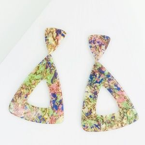 Triangle Drop Earrings in Pastel